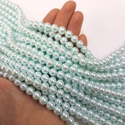 Light Aqua Glass Pearl Beads #RB34