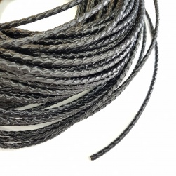 4mm Black Braided BOLO Leather Cord #3188