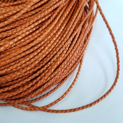 3mm Orange Braided BOLO Leather Cord #3127