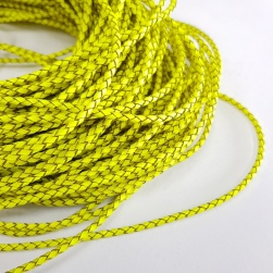 3mm Fluro Yellow Braided BOLO Leather Cord #3128