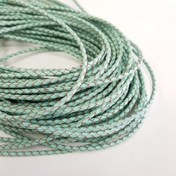3mm Aqua Braided BOLO Leather Cord #3130