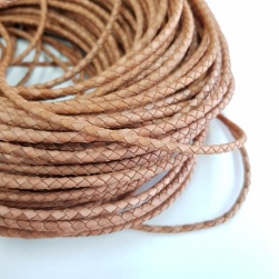4mm Natural Braided BOLO Leather Cord #3131